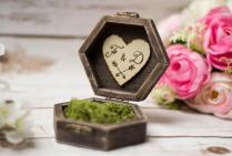 Rustic Wedding Ring Box Moss Ring Bearer Pillow Box Ring Holder