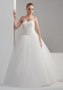 Simple Organza Ball Gown Wedding Dress With Strapless Neckline