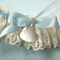 Something Blue Wedding Garter, Personalized Garter In Ivory Venise
