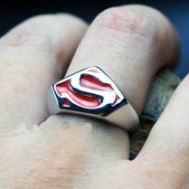 Superman Ring Men Kid School Class Wedding Band Red Cocktail Sz 9