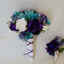 Teal Wedding Bouquet Purple Boutonniere Reserved For Kimberly
