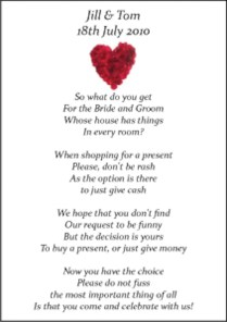 Wedding Gift Poems Asking For Honeymoon Money 50 Small Wedding