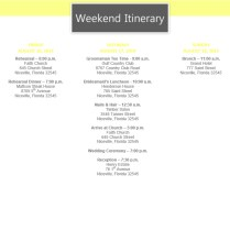 Wedding Itinerary Template,