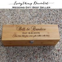 Wedding Wine Box, Personalized Wooden Wine Box, Anniversary Wine