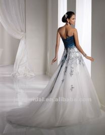 White And Teal Corset Back Wedding Dresses