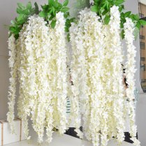 White Wisteria Garland 70 Hanging Flowers 5pcs For
