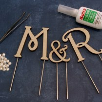 Wood Monogram Cake Toppers
