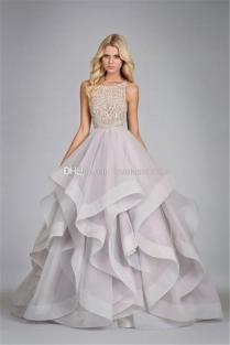 2014 Floor Length Ball Gown Wedding Dresses Scalloped Beading