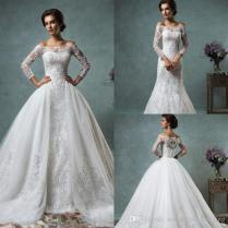 2016 Full Lace Wedding Dresses With Detachable Skirt Amelia Sposa