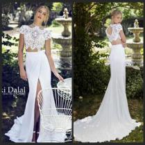 2017 Summer Chiffon Beach Wedding Dresses Mermaid High Neck Lace