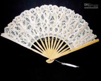 2017 Vintage White Spanish Lace Hand Fan For Wedding Bridal Party