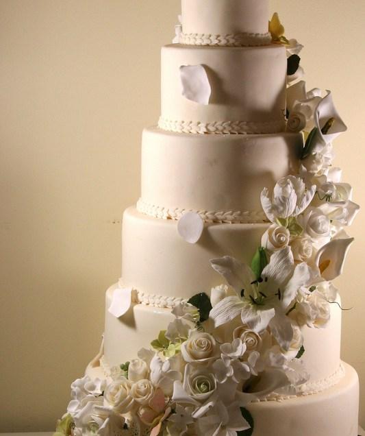 6 Tier Wedding Cake With Sugar Flowers Cascade
