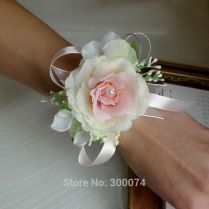 Aliexpress Com Buy Artificial Silk Rose Wrist Flower Corsage For