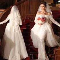 Aliexpress Com Buy Long Sleeve Mermaid Detachable Train Wedding