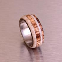 Antler Ring Titanium Ring With Wood Zebra Deer Antler Band Mens
