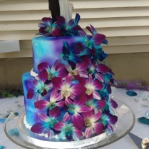 Blue And Purple Orchids Wedding Cake
