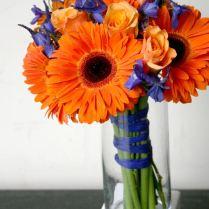 Bridal Bouquet Of Orange Gerbera Daisies, Blue Delphinium And