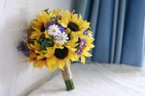 Bridal Wedding Bouquet 2015 Yellow Sunflowers White Purple Daisy