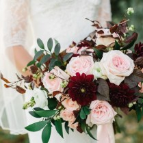 Burgundy And Blush Wedding Flowers At The Bungalow In Pleasant