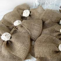Burlap Bow Rustic Wedding Fabric Rose Set Of 6 Pew Bows Aisle