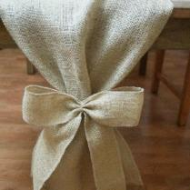Burlap Table Runner, Plain With Burlap Bows, Rustic Wedding