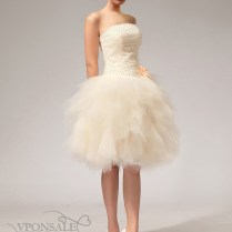 Champagne Flared Short Bridal Dress Dbw033