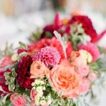 Coral Pink And Red Wedding Flowers