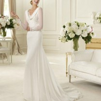 Cowl Neck Wedding Dress With Sleeves