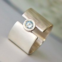 Engagement Ring, White Sapphire Wide Wedding Band, Silver And Gold