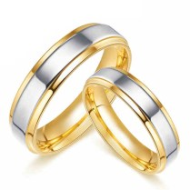 Engravable 18k Gold Plated Titanium Promise Rings Matching Couples