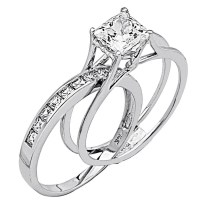 Heart Shaped Diamond Wedding Ring Sets His Hers 14k White Gold