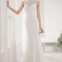 Keyhole Back Bateau Neck Sleeveless Simple Slim Lace Wedding Dress