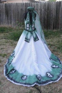 Large Size 10 Hand Painted Sugar Skull Skeleton Wedding Dress