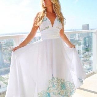 Long White Couture Beach Wedding Dress Dresses White Chiffon Print