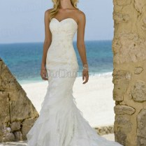Mermaid Trumpet Organza Sweetheart Strapless Lace