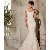 Mori Lee 5316 Ivory Silver Lace Fishtail Wedding Dress Size 12