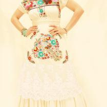 Pajaritos Del Amor Mexican Wedding Dress Crochet Lace Ruffled Maxi