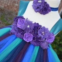 Peacock Color Dress Without Feather, Peacock Teal Tutu Dress