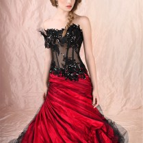 Pink And Red Wedding Dress