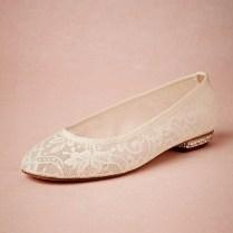 Popular Flat Ivory Lace Wedding Shoes