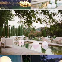 Romantic Wedding Reception Ideas With Swimming Pool String Lights