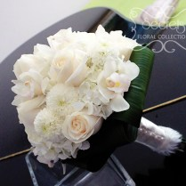 Roses, White Ice Cap Button Mums, And Cream Hydrangea Bridal