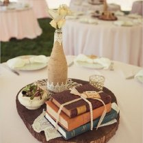 Rustic Vintage Book Wedding Centerpiece