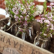 Rustic Wood Planter Box 8 Milk Bottles Vase