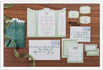 Secret Garden Wedding Invitations Featuring Green Ombre Fade, Die