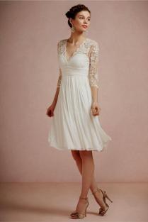 Short Wedding Dresses With 3 4 Sleeves Naf Dresses
