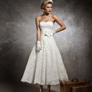 Strapless Lace Sweetheart Tea Length Wedding Dress With Flower