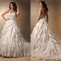 Strapless Ruffled Wedding Dressesorganza Wedding Dressball Gown