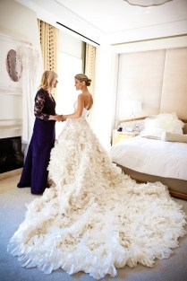 Stunning Wedding Dress With Long Feather Train