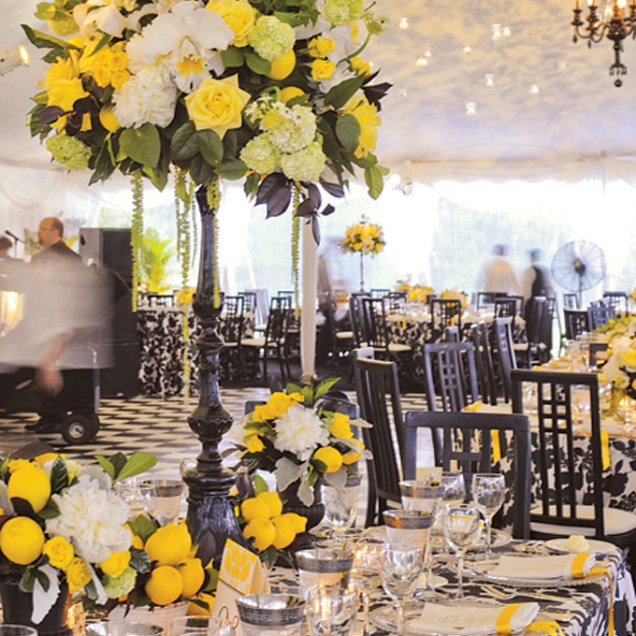 Tall Yellow And White Centerpieces